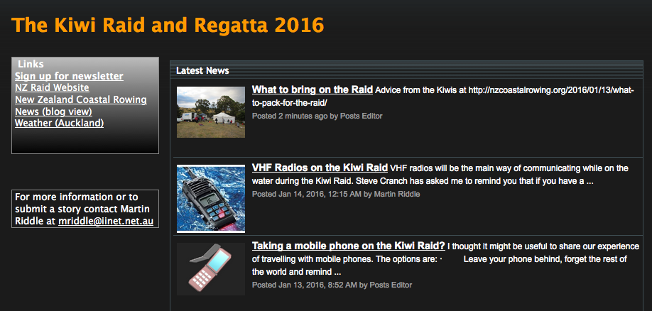 Kiwi Raid and Regatta News
